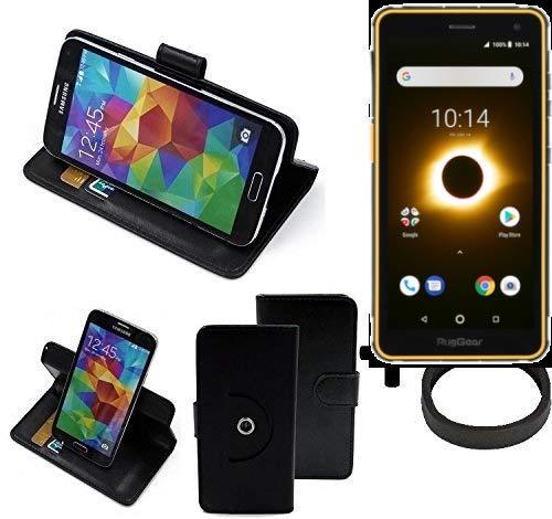 K-S-Trade® Hülle Schutz Hülle Für Ruggear RG650 + Bumper Handyhülle Flipcase Smartphone Cover Handy Schutz Tasche Walletcase Schwarz (1x)