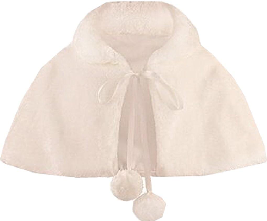 Shiny Toddler Little//Big Girls Faux Fur Wraps Cape Kids Bolero Wedding First Communion Dress Coat