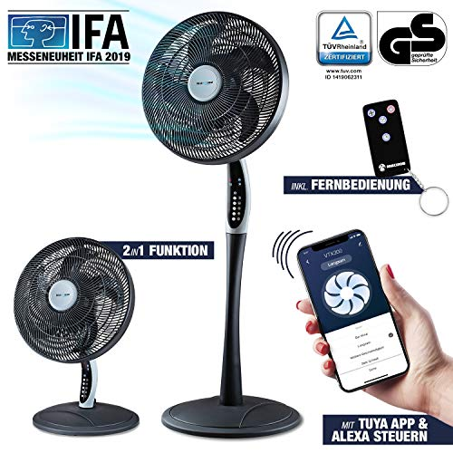 2in1 Standventilator extra leise| Smarte Tuya App + Amazon Alexa + Google Assistant |VTX300 55W Tisch-Ventilator mit Fernbedienung & Display fürs Schlafzimmer | RelaxxNow Air Conditioner + in Mini