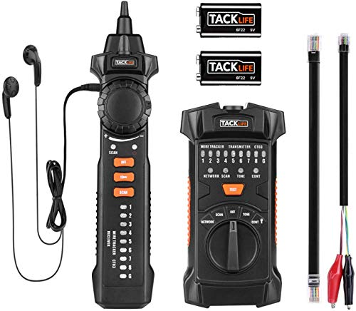 Wire Tracker, Multifunctional RJ11 RJ45 Cable Tester Line Finder With NCV Probe for Wire Tracer Toner Ethernet LAN Network Cable Collation, Telephone Line Tester &Continuity Checking, Tacklife CT03