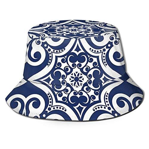 N/P Fisherman's Hat Navy Blauw Marokkaanse tegel Patroon Opvouwbare Omkeerbare Unisex Volwassen Mode Emmer Cap Zomer Visser Hoed Outdoor Cap, Veel Patronen