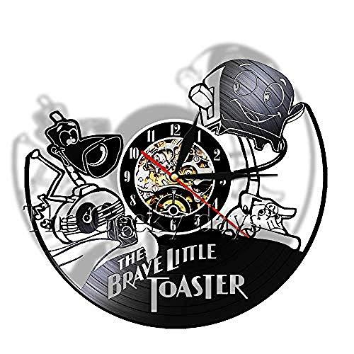 TIANZly Tapfer Toaster Rekord Wandkunst Vinyl Uhr Comic Childs Room Kinderzimmer Dekor 3D Stille Bewegung Wanduhr Geschenk für Kinder