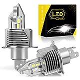 【2020年最強 業界初モデル 】H4 LEDヘッドライト Hi/Lo 車/バイク用 一体型LED バルブ 65000K 12000LM 超高輝度 55W DC9V-36V LEDチップ搭載モデル IP68防水 2個セット 一年保証