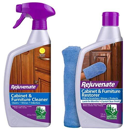 Rejuvenate Cabinet and Furniture Clean & Restore Bundle 24oz Cleaner & 13oz Restorer with Microfiber Mitt