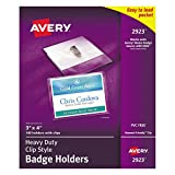 Avery Clear Heavy-Duty Clip Style Landscape Badge Holders, 3 x 4, Box of 100 (2923)
