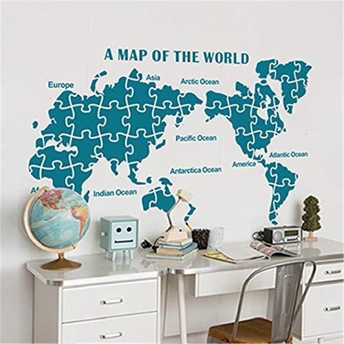 FDCVF Muursticker, hal, muursticker, wereldkaart, plakfolie, PVC, materiaal doe-het-zelf, muurschildering verwijderbaar, sofa-achtergrond voor huis, woonkamer, decoratie, groen, M