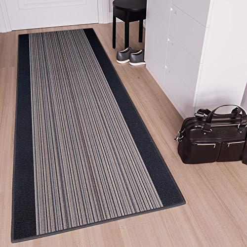 TAPISO Anti Rutsch Teppich Läufer rutschfest Meterware Modern Brücke Streifen Gestreift Design Grau Meliert Flur Wohnzimmer 80 x 820 cm