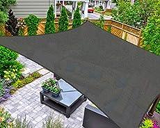 AsterOutdoor Sun Shade Sail Rectangle 16' x 20' UV Block Canopy for Patio Backyard Lawn Garden Outdoor Activities, Graphite
