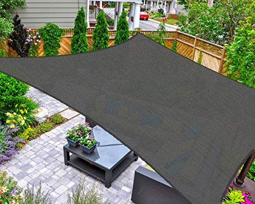 AsterOutdoor Sun Shade Sail Rectangle 10' x 13' UV Block Canopy for Patio Backyard Lawn Garden Outdoor Activities, Graphite