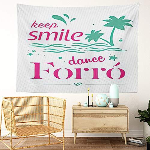 Y·JIANG Tapiz para bailar con texto en inglés 'Keep Smile Dance', diseño de acordeón de playa, para decoración de pareja brasileña, para dormitorio, 152 x 127 cm