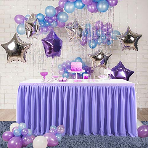 CO-AVE - Falda de mesa de tul con volantes de lavanda para mesas redondas rectangulares para baby shower, cumpleaños, decoración de fiestas (167 pulgadas, 30 pulgadas)