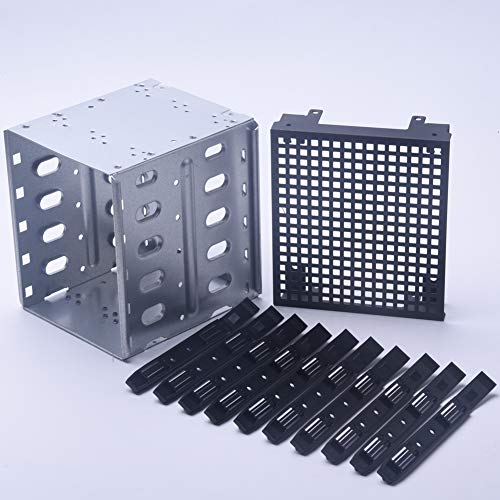 """HONUTIGE - Gabbia per hard disk HDD, grande capacità in acciaio INOX da 5,25\"""" a 5 x 3,5\"""" SATA SAS HDD Rack, vassoio per disco rigido con spazio ventola"""