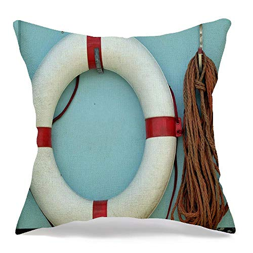 Decorative Square Throw Pillow Cover Charming Red White Vintage Life Preserver Hung Buoy Lifebuoy Circle Emergency Equipment Float Ring Linen Soft Cushion Case for Bed Sofa Living Room 18x18 Inch