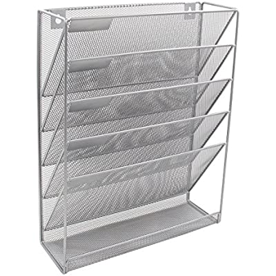 SILVER WALL HANGING LITREATURE HOLDER 6 RACKS FOR MAGAZINES//LETTERS//DOCUMENTS