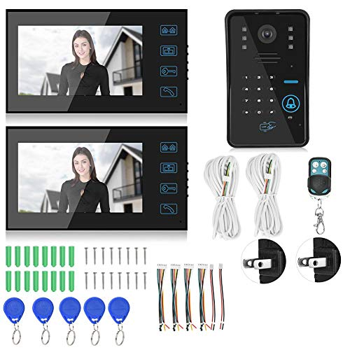 CHICIRIS Videoportero, 7 Pulgadas, Pantalla táctil, visión Nocturna, intercomunicador, Tarjeta de contraseña, Monitor de Seguridad para el Sistema de Acceso al Edificio(#2)