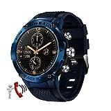 QFSLR Smartwatch Hombres Reloj Inteligente Deportivo con Llamada Bluetooth Monitor De Frecuencia Cardíaca Monitor De Presión Arterial Monitoreo De Oxígeno En Sangre,Azul
