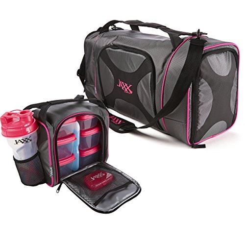 Fit & Fresh Dual Jaxx Kinder Golfset fitpak Duffel mit portioskontrolle Behälter Set, 946FFJX232C, schwarz/rosa