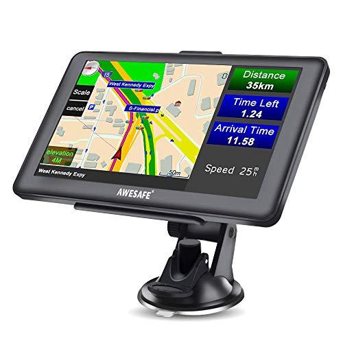 Awesafe Navigationsgeräte für Auto LKW 7-Zoll Navigation mit 2021 Europa Karten Lebenslang kostenlos Karten-Update