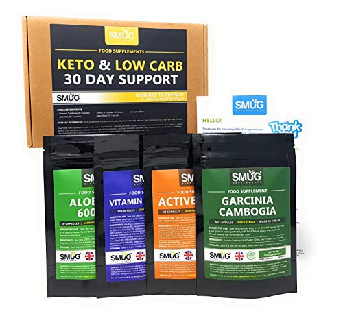 Keto and Low Carb Kit - 30 Day Support - Keto Diet Pills for a Low Carbohydrate Diet Plan - Includes Garcinia Cambogia, Aloe Vera, Detox Blend and Vitamin B Complex