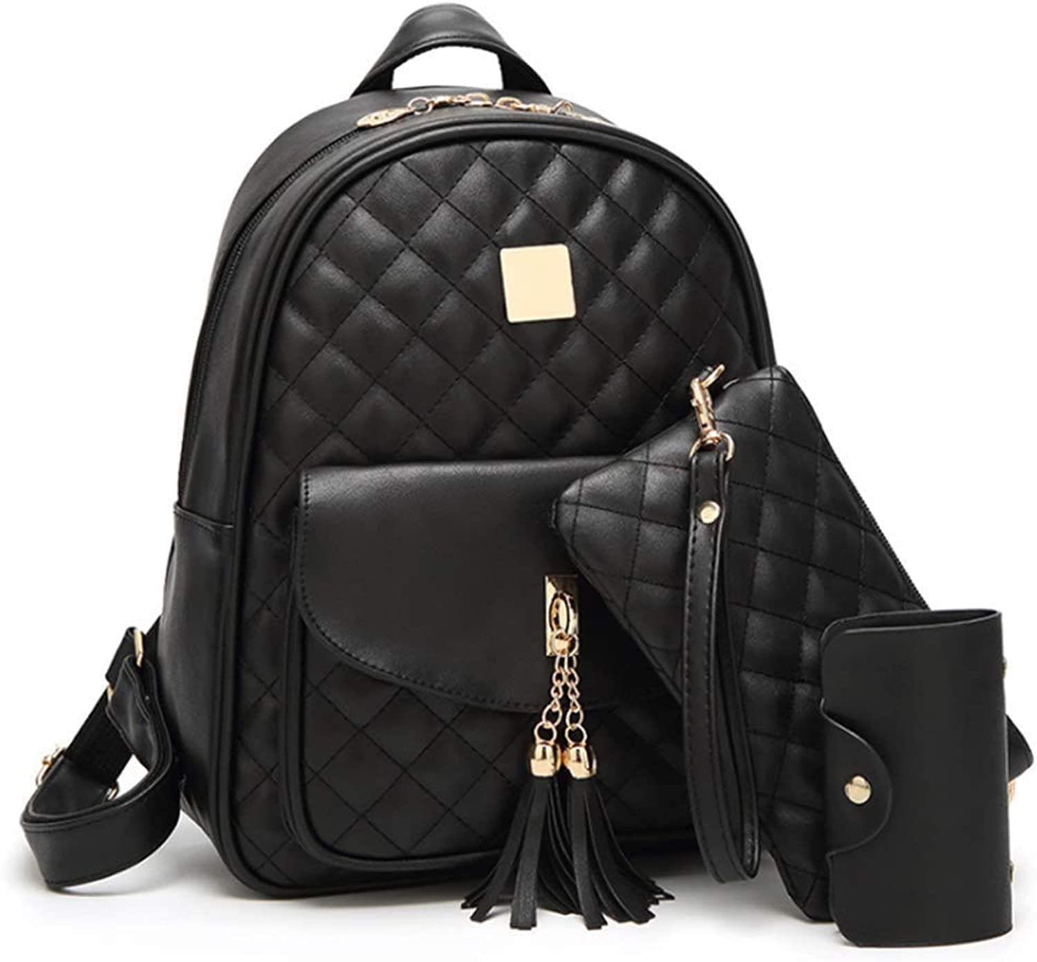 Casual Tassel Backpack for Women Fashion Shoulder Bag Travel Daypack School Rucksack with Purse and Card Bag
