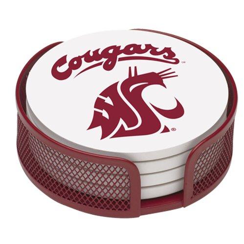Thirstystone Stoneware Drink Coaster Set with Holder, Washington State University
