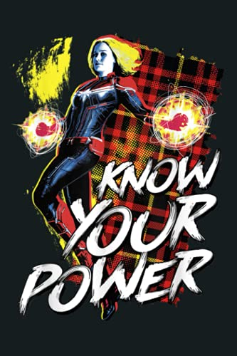 Marvel Captain Marvel Know Your Power Plaid Poster: Notebook Planner - 6x9 inch Daily Planner Journal, To Do List Notebook, Daily Organizer, 114 Pages
