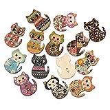 Rosenice - Bottoni di legno a forma di gatto, per cucito fai da te, 100 pezzi