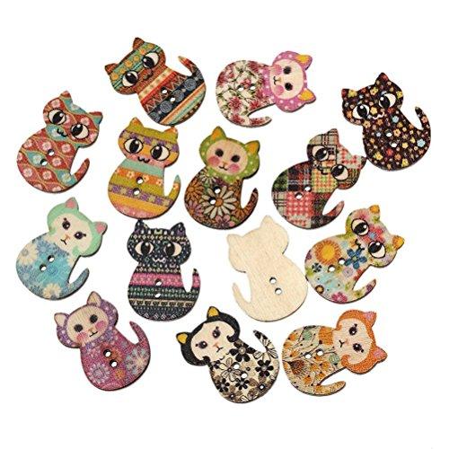 OULII Boutons en bois 50pcs chat multicolore en forme de 2 boutons à coudre impression bois trous pour la couture et l'artisanat BRICOLAGE (multicolore)