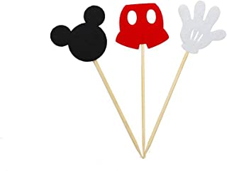 AIMING WEST Set of 24 Assorted Felt Mickey Mouse Cake Cupcake or Muffin Toppers Birthday Theme Party Decoration