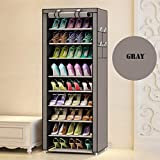 Aysis Multipurpose Portable Folding Shoes Rack 9 Tiers Multi-Purpose Shoe Storage Organizer Cabinet Tower with Iron and Nonwoven Fabric with Zippered Dustproof Cover Color Grey