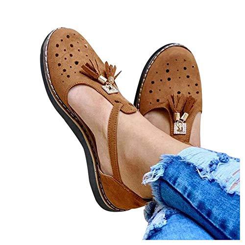 XXZ Sandalias Planas Cuña para Mujer Verano 2020 Zapatos Piel Chanclas Zapatillas Casual Cómodas Caminar Fiesta de Playa al Aire Libre Transpirable Antideslizante Mula,Marrón,41