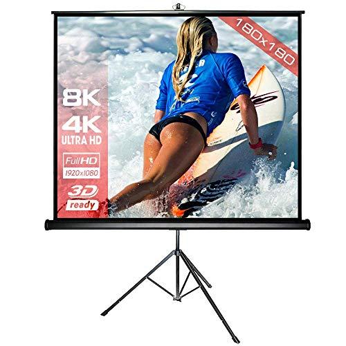 Alphavision*Business Alphavision Stativleinwand 180 x 180 centimetri Mobile Beamer Leinwand Incl. Stã¤Nder - Stabile Ausfã¼Hrung - Formato 1: 1 4: 3 16: 9