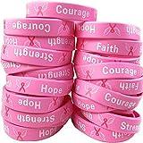 50 Pack Breast Cancer Awareness Pink Ribbon Bracelets Hope Faith Strength Courage Inspiring Wristbands