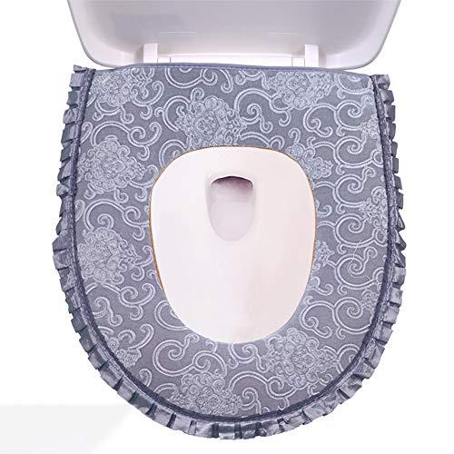 Wuke Tree verdikte waterdichte wc-bril kussen, stretchable printen en verven luxe stoel kussen, algemeen zacht en warm toilet stoel kussen Grijs