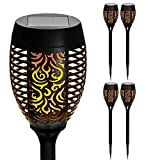 Garden Mile® Set of 4 Flame Effect Solar Torch with Dancing Flickering Flame