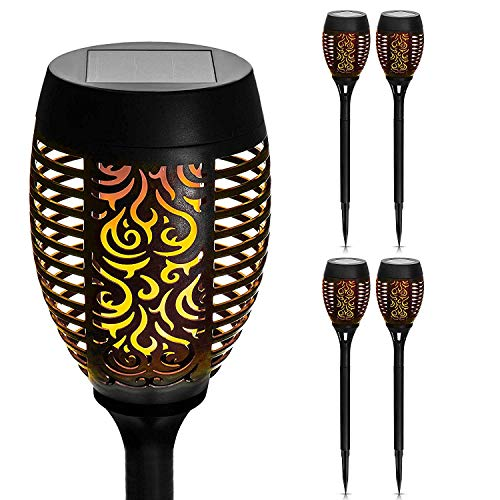 Garden Mile Set of 4 Flame Effect Solar Torch with Dancing Flickering Flame | Tribal Pattern Pathway Lights Garden Lamps | Bright Warm Glow Outdoor Patio Lighting | Modern Tiki Torches