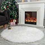 LEEVAN Super Soft Faux Fur Sheepskin Rug Office Chair Cover Shaggy Rug Round Area Rugs Floor Mat Home Decorator Carpets Kids Play Rug Ivory White, Round 4 ft Diameter