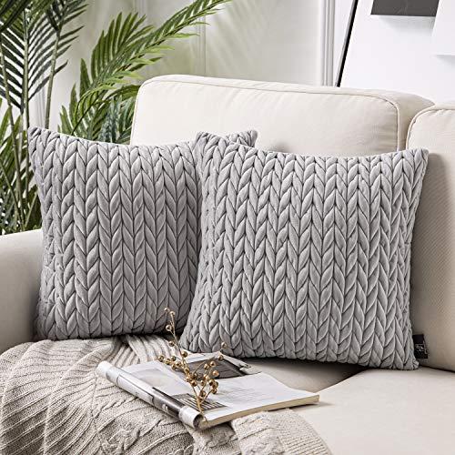 Phantoscope - Juego de 2 fundas de cojín cuadradas de terciopelo para sofá, cama y silla, Gris claro, 18' x 18'