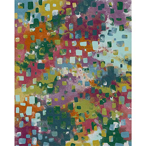 """RUGGABLE Washable Indoor/Outdoor Stain Resistant 8'x10' (94""""x120"""") Area Rug 2pc Set (Cover and Pad) Watercolor Abstract Multi"""