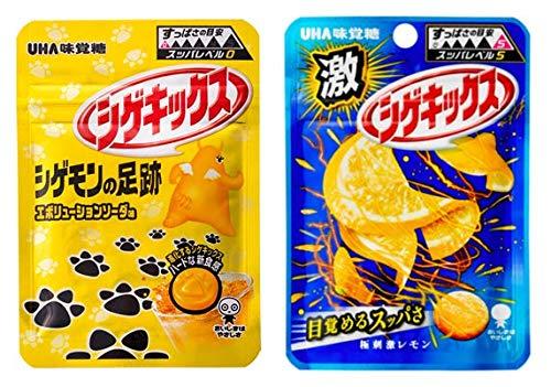 UHA味覚糖 シゲキックス アソート 2種各5個計10個セット(シゲモンの足跡 エボリューションソーダ×5・レモン×5)