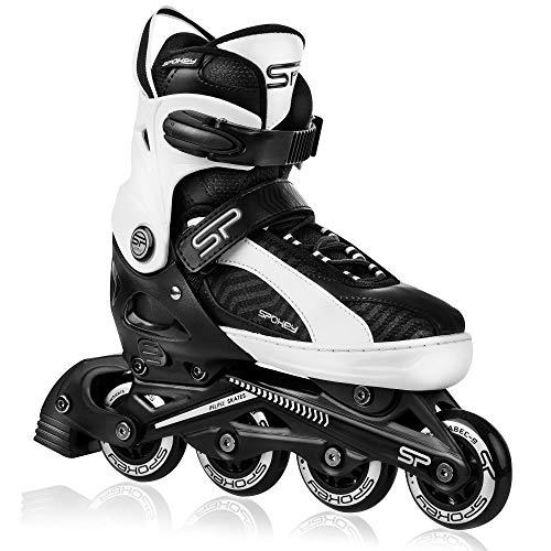 Spokey ORI Inline Skates für Kinder und Jugendliche bis max. Körpergewicht 60 kg, größenverstellbar, Alu-Schienen, Kugellager ABEC-9 Carbon, PU Rolle 82 A, Ø-Rolle größenabhängig
