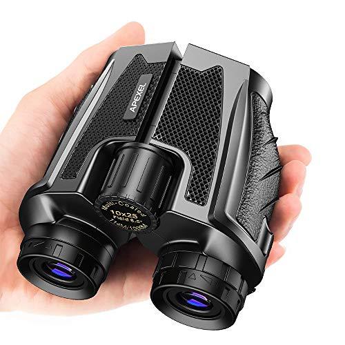 Apexel Binocolo Compatto 10x25 con Visione Notturna Binocolo Impermeabile con Oculare Grande, Binocolo ad alta Potenza e Messa a Fuoco Facile per Birdwatching, Caccia all'Aperto, Visite Turistiche