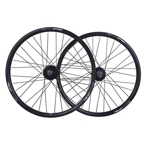 MZPWJD Ruota per Bicicletta BMX da 20 Pollici Set di Ruote per Bici Cerchio in Lega A Doppio Strato Freno A Disco Rilascio Rapido 7 8 9 10 velocità 32H (Color : Black, Size : 20in)