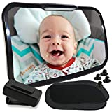 KIDDKARE Baby Car Mirror with Light | Adjustable Straps to Fit Fixed or Removable Headrest | Remote Activated Dual Light Option | Comes with 2pcs Window Sunshades