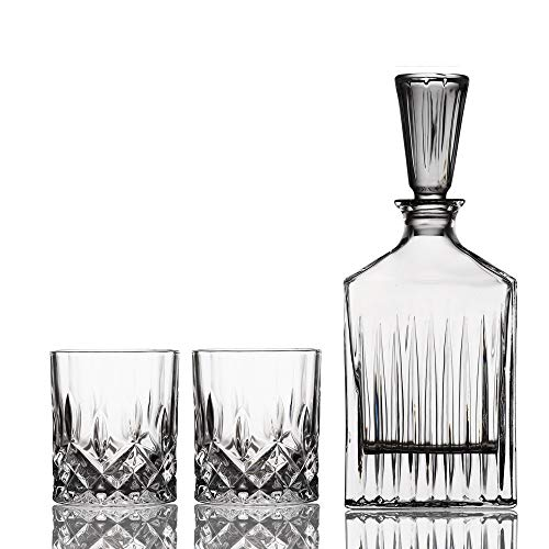 MBLIGHT Whiskey Decanter, 750ml Whiskey Karaffe, Kristallglas Whiskyflasche, 330ml Whiskey Cups (Size : D+2 Cups)