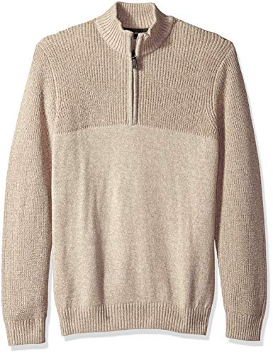 IZOD Men's Fit Newport Marled Quarter Zip 7 Gauge Textured Sweater, New Rock Heather, Large Slim