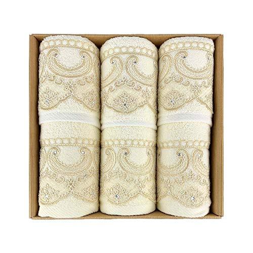 NADA HOME Ferlen 4030 - Juego de toallas de baño 3 + 3 de rizo para rostro y invitados