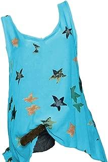 FSSE Womens Sleeveless Loose Pentagram Printing Sundresses Tank Top Cami Blouse Shirt