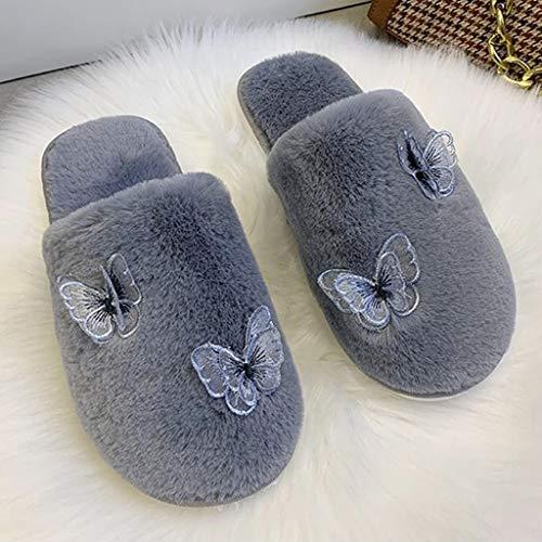 WWWEE Zapatillas De Felpa para Mujer, Zapatos Cálidos De Invierno para Mujer, Zapatos Planos Suaves para Interior, Zapatillas Bonitas para Mujer (Color : Gray, Size : 38)