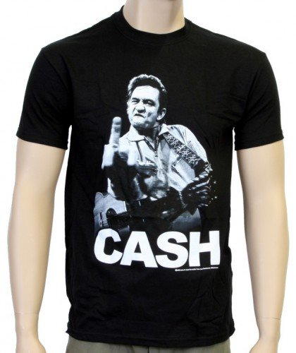 Coole-Fun-T-Shirts T-shirt Johnny Cash Flippin Noir Noir Medium